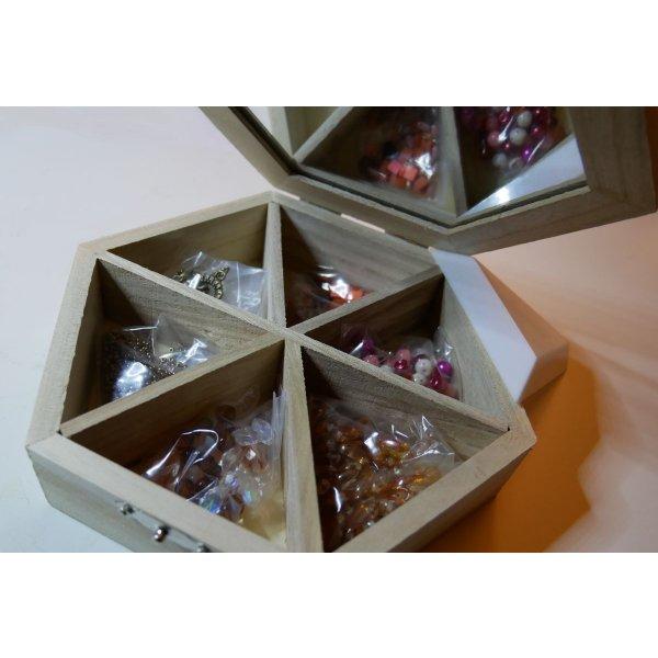 Coffret bois à personnaliser camaïeu de perles ambre/orange