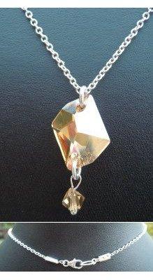 Collier argent pendentif Swarovski Cosmic Golden