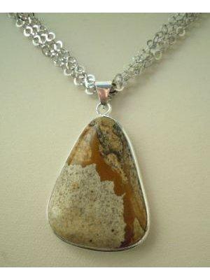 Collier argent triple chaine pendentif Jaspe Paysage