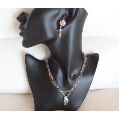 Collier argent triple chaine pendentif Swarovski