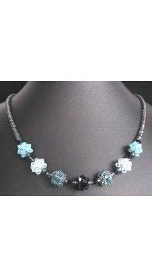 Collier en boules de perles Bleu indigo