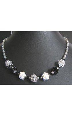Collier en boules de perles Noir Argent