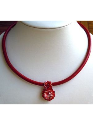 Collier cordon large cuir rouge en kit