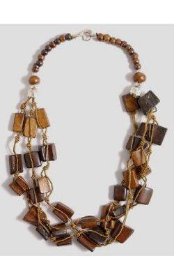 Collier Indien aux carrés de bois