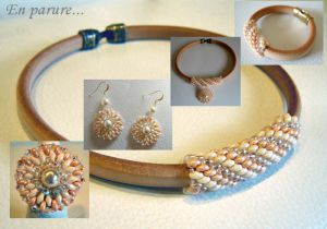 Collier en kit Cuir Regaliz naturel et perles Nude