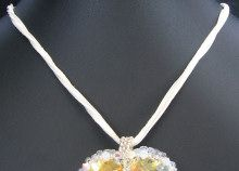 Collier multi-cordons blanc/écru Cristalia