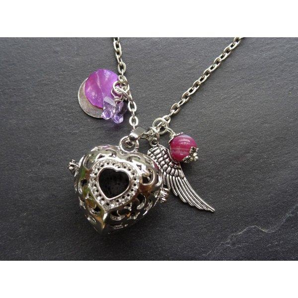 Collier pendentif boite à parfum Coeur Violet