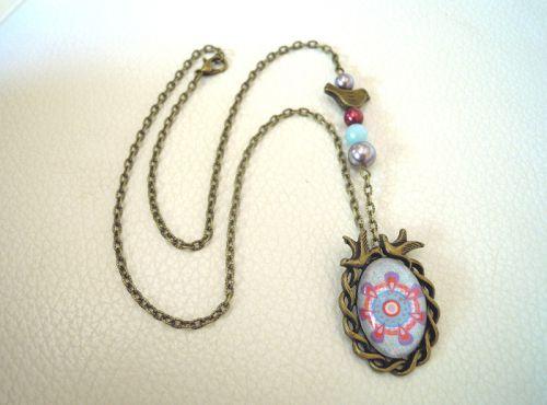 Collier pendentif cabochon Oiseaux Bleu mauve