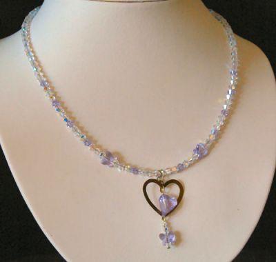 Collier pendentif Coeur Violet