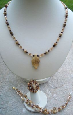 Collier pendentif Feuille Jaspe paysage en kit