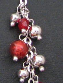 Collier pendentif grappe rouge en argent