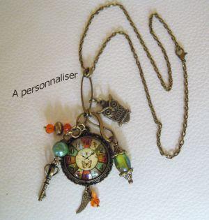 Collier pendentif hippie chic bronze cabochon horloge