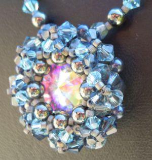 Collier pendentif Latitude Bleu Hématite en kit