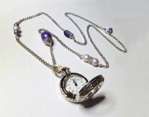 Collier pendentif montre Gousset argenté Violet