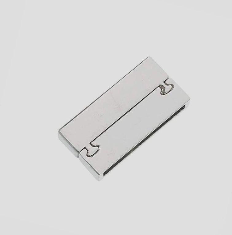 Fermoir magnétique rectangulaire 30x18 mm argenté brillant
