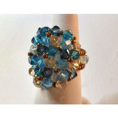 Kit bague Agate Golden blue