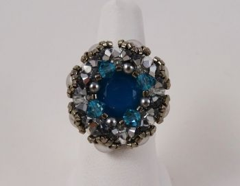 Kit bague Antigua bleu et chrome
