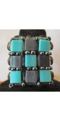 Kit bague carrée Tila Bleu Turquoise