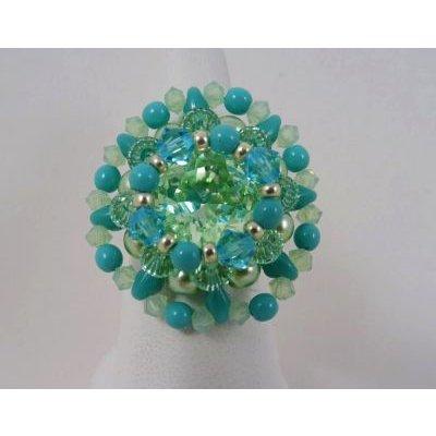 Kit bague Hélios vert d'eau turquoise