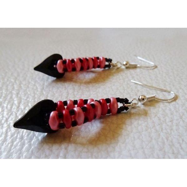 Kit boucles d'oreilles Coeur Noir et rose