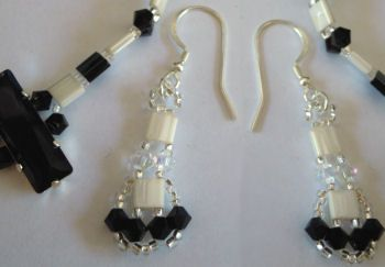 Kit boucles d'oreilles Tila Noir&blanc