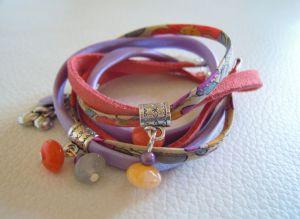 Kit bracelet double Liberty Corail parme