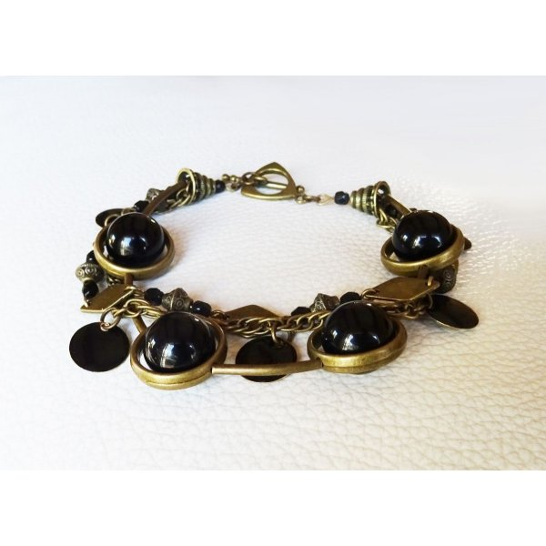 Kit bracelet 3 rangs Noir & bronze