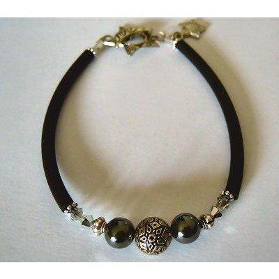 Kit Bracelet Tube Noir perles Bali & Hématites