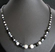 Kit collier Obsidienne Noir et blanc