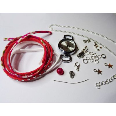 Kit montre bracelet multi rangs corail