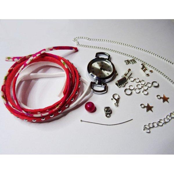 Kit montre bracelet multi rangs corail