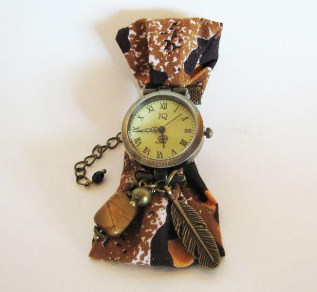 Kit montre bracelet tissus Wax africain marron