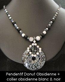 Kit pendentif  Donut Obsidienne