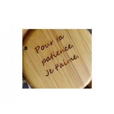 Montre en bois à graver pour femme - cuir marron