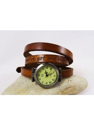 Montre bracelet cuir 3 tours phrase gravée