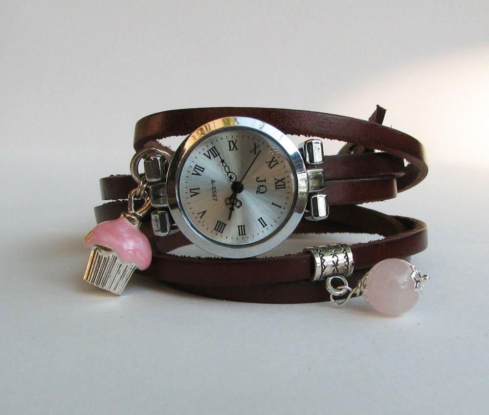Montre fantaisie montre bracelet cuir 5 tours d cor gourmand for Montre decoration