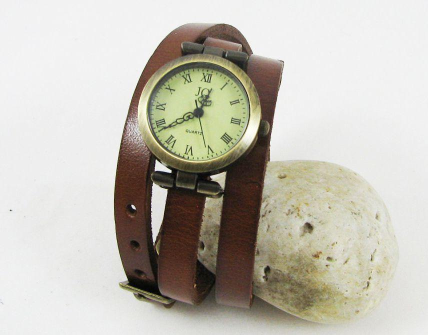 Montre bracelet cuir 3 tours Sobre