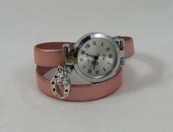 Montre bracelet double cuir rose nacré