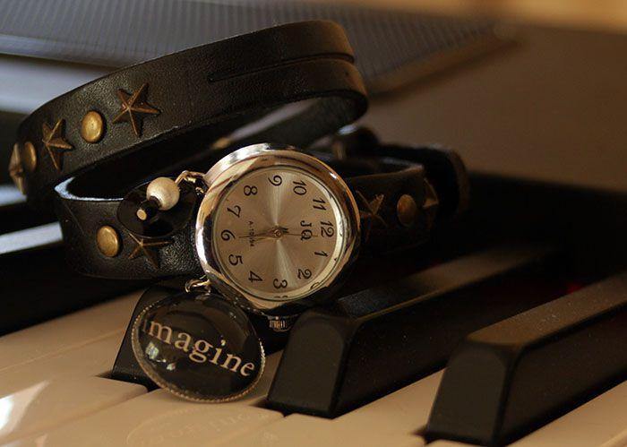 montre fantaisie montre bracelet double cuir noir imagine. Black Bedroom Furniture Sets. Home Design Ideas