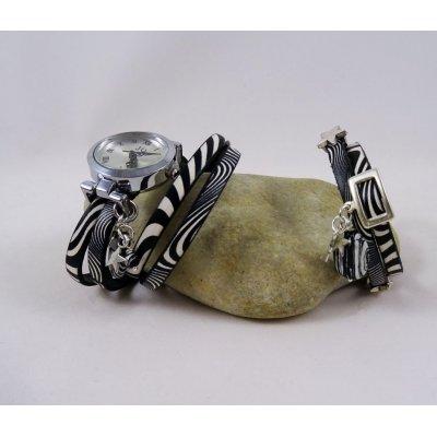 Bracelet cuir Zebré double tour
