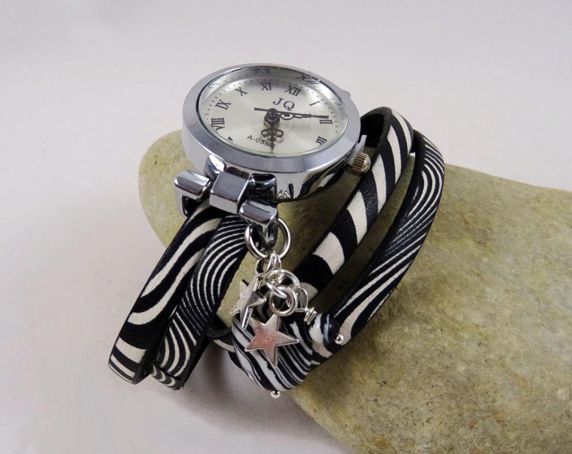 montre fantaisie montre bracelet double cuir zebr. Black Bedroom Furniture Sets. Home Design Ideas
