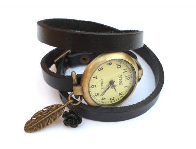 Montre bracelet 3 tours cuir noir Plume et rose noire