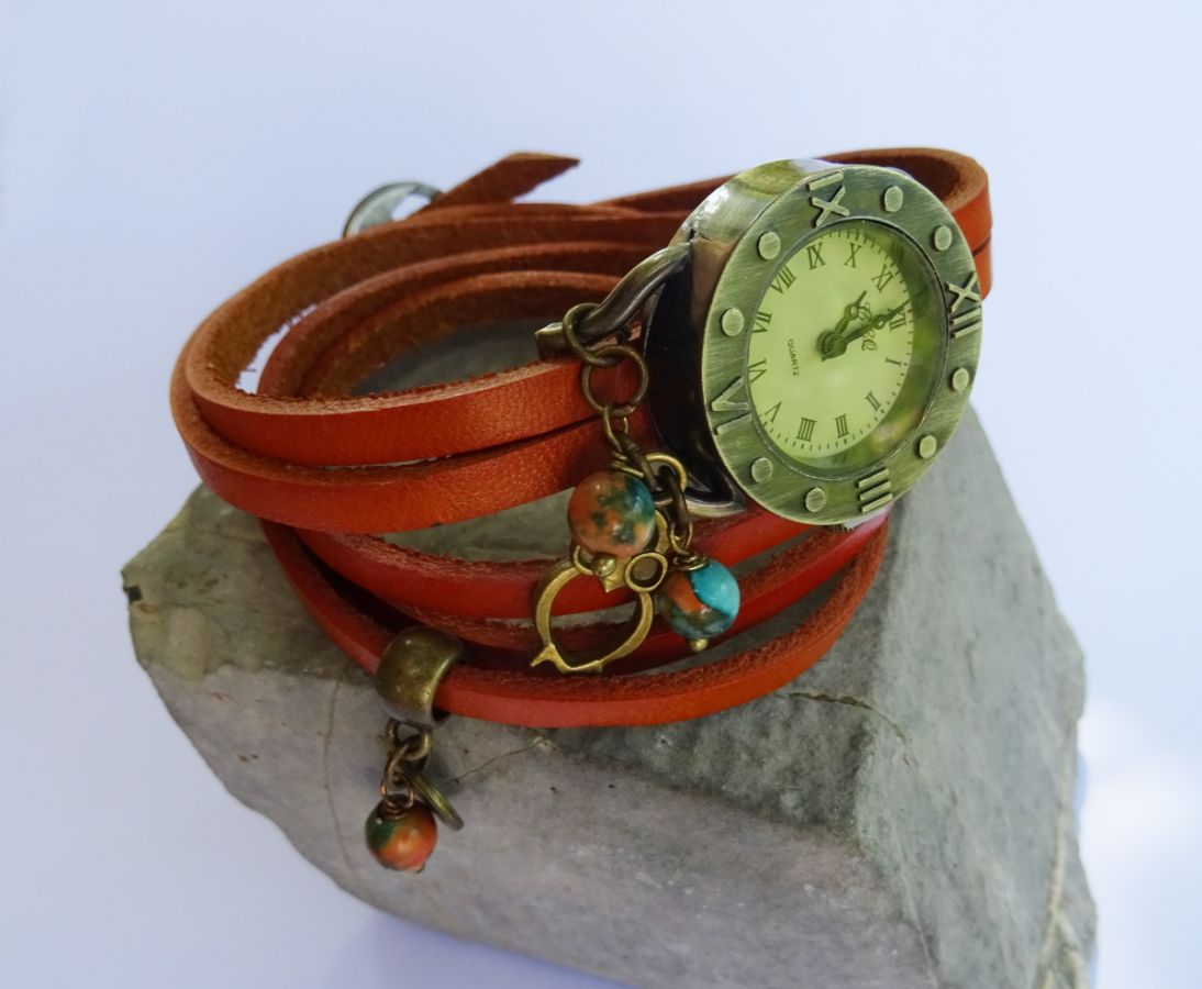 Montre bracelet 5 tours cuir Chouette & perles