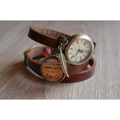 Montre cabochon Smile bracelet cuir au choix