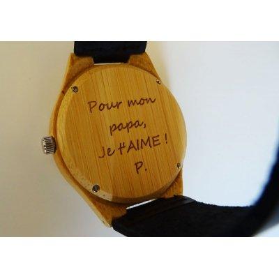 Montre homme bambou gravé sur bracelet cuir Noir à personnaliser