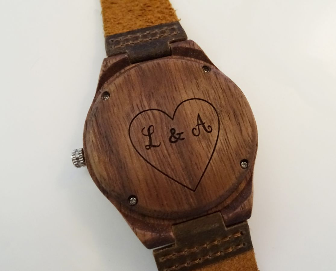 montre homme bois b ne sur bracelet cuir bleu. Black Bedroom Furniture Sets. Home Design Ideas