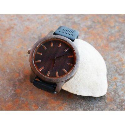 Montre homme bois Noyer à graver bracelet silicone végan