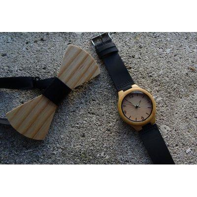 Montre homme cadran bambou bracelet noir
