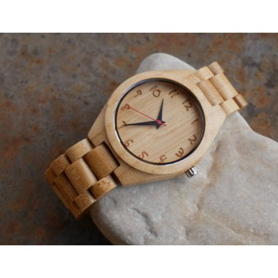 Montre homme cadran et bracelet en bois bambou  à personnaliser
