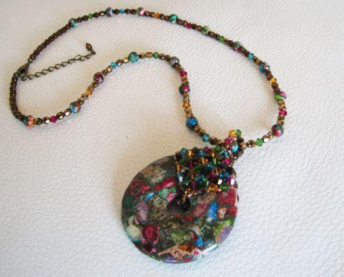 Pendentif donut et collier Cuba Jaspe Arlequin